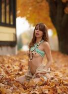 Ariel Rebel Pics Playing in Leaves #10