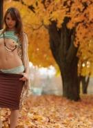 Ariel Rebel Pics Playing in Leaves #5