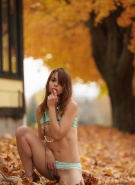 Ariel Rebel Pics Playing in Leaves #8