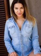 Lacey Banghard Pics Blue Shirt Strip #1