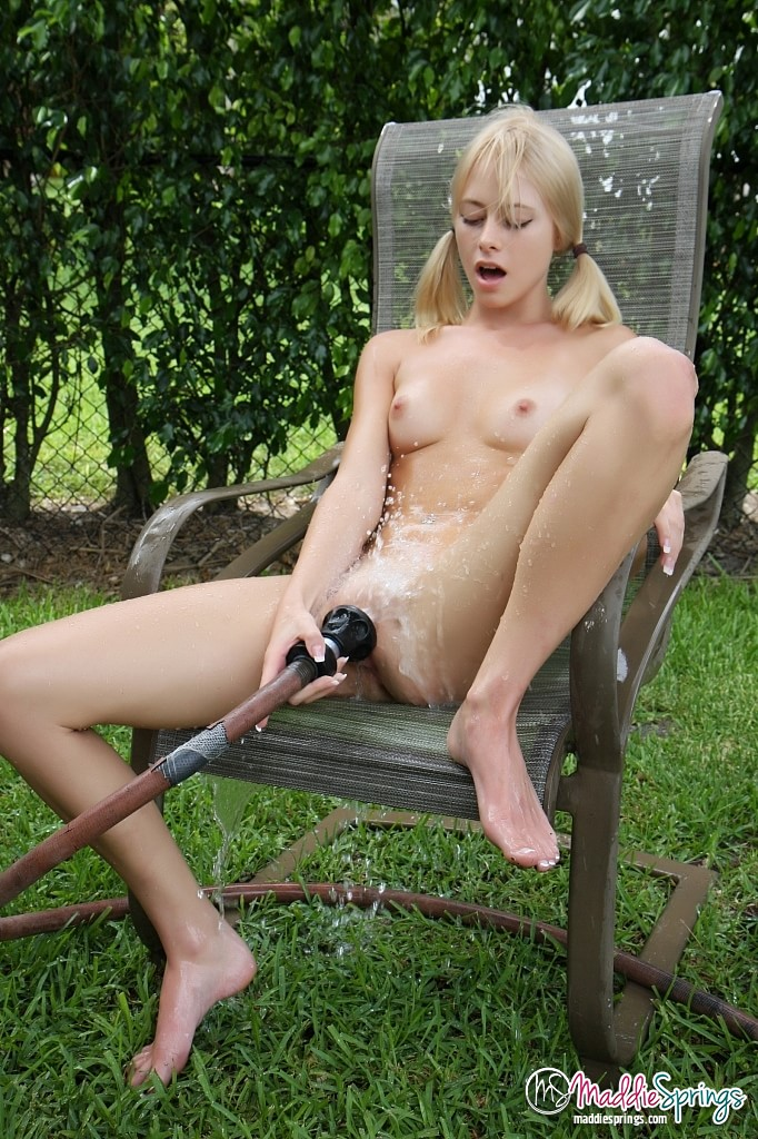 Garden hose dildo bad turn
