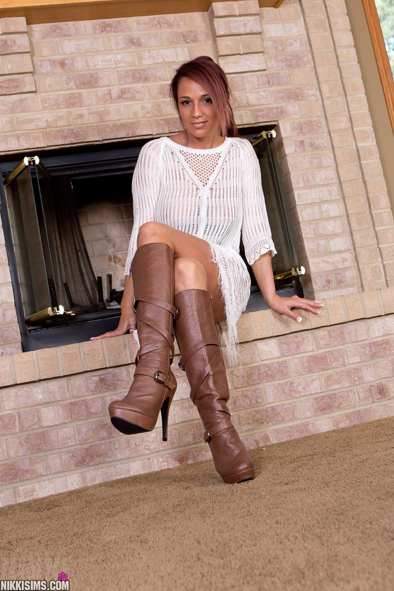 naked big boobs wearing boots