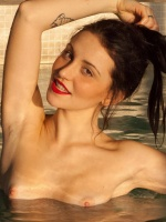Italian muse, Vincenza Boscone, gets nude in the pool for Zishy!